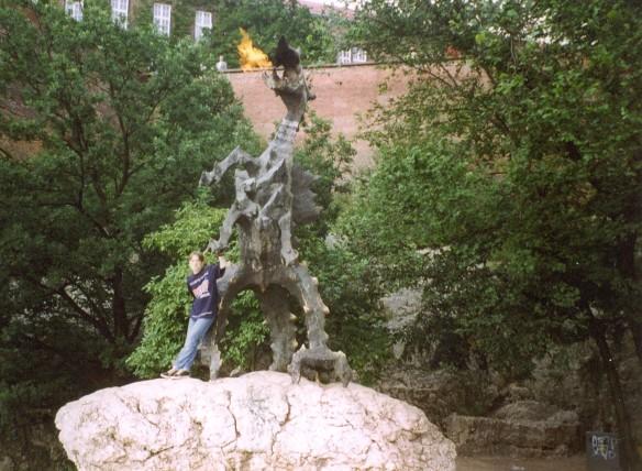 The Dragon of Wawel spits fire