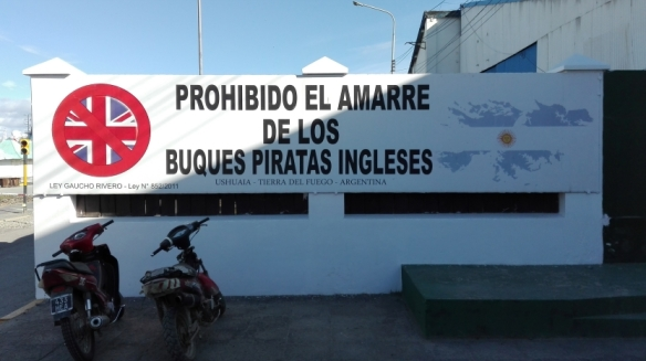 Banner at the Port of Ushuaia